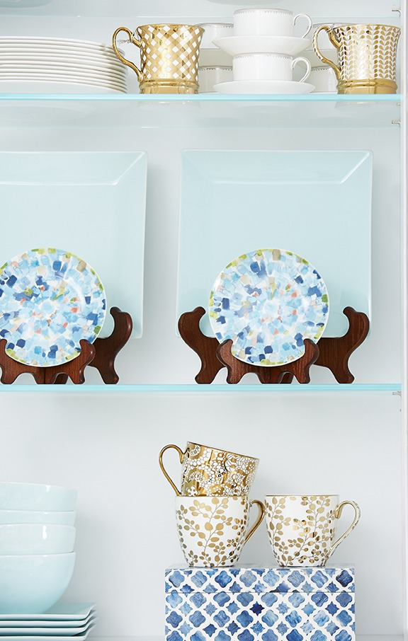 gold dishes, blue dishes, kitchen cabinet accessories
