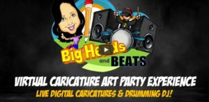 Big Heads & Beats Virtual Caricature Art Party Experience - Funny Business Agency